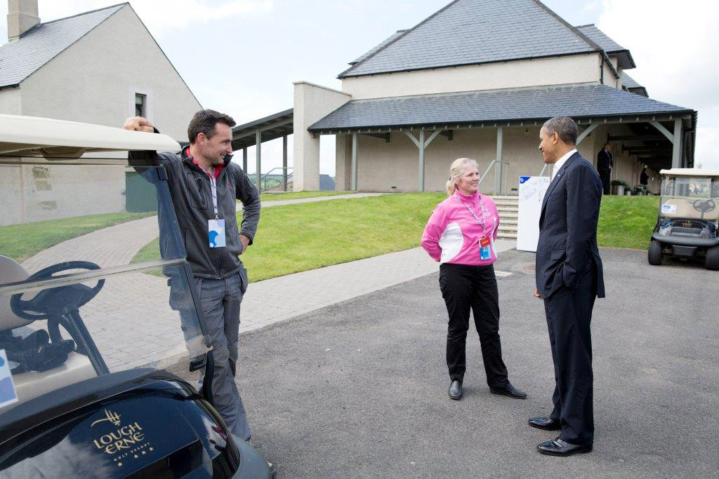 Lynn McCool and President Obama, Lough Erne Resort