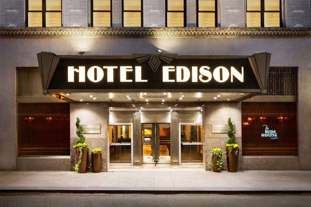 Art deco style Hotel Edison stands snug beside Manhattan\'s Times ...