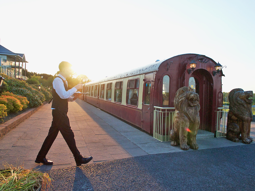 fine dining experience in a vintage Pullman carriage at Glenlo Abbey Hotel and Golf Course
