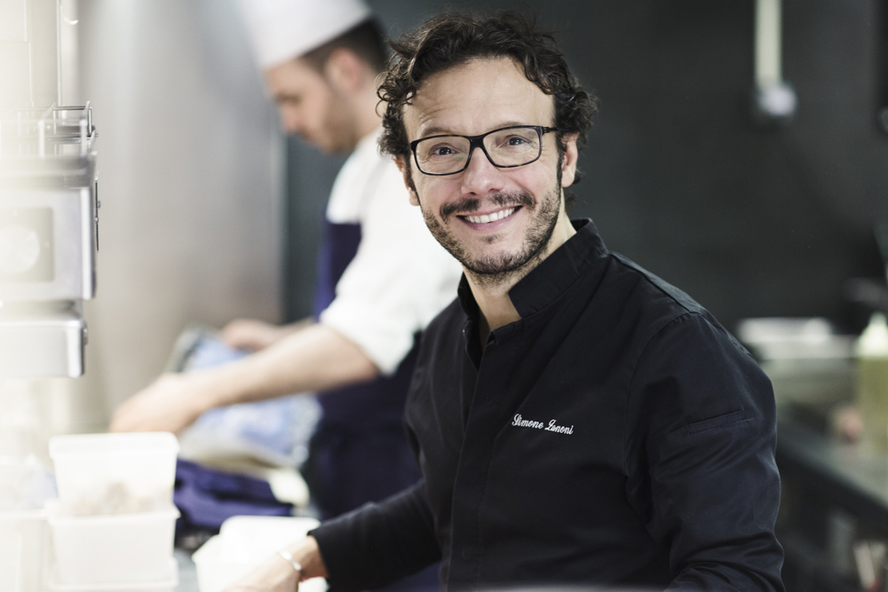 Simone Zanoni, Italian chef at the restaurant Le George, Paris